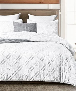 PHF Clipped Jacquard Duvet Cover Set Twin Size 2PCS Textured Stripe Washed Microfiber Comforter Cover Set For All Season Boho Duvet Cover With Pillow Shams Bedding Collection 68x 90 White 0 300x360