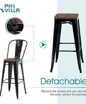 PHI VILLA Metal Patio Bar Stools Set Of 4 30 Inches Counter Height Stools With Wooden Seat And High Back Industrial Style Bar Chairs For Indoor Outdoor Pub Kitchen Island Glossy Black 0 0 300x360