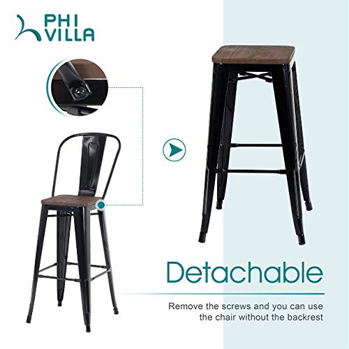 PHI VILLA Metal Patio Bar Stools Set Of 4 30 Inches Counter Height Stools With Wooden Seat And High Back Industrial Style Bar Chairs For Indoor Outdoor Pub Kitchen Island Glossy Black 0 0