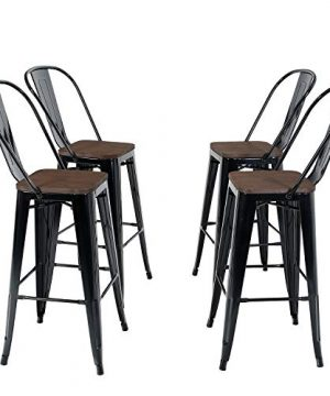 PHI VILLA Metal Patio Bar Stools Set Of 4 30 Inches Counter Height Stools With Wooden Seat And High Back Industrial Style Bar Chairs For Indoor Outdoor Pub Kitchen Island Glossy Black 0 300x360