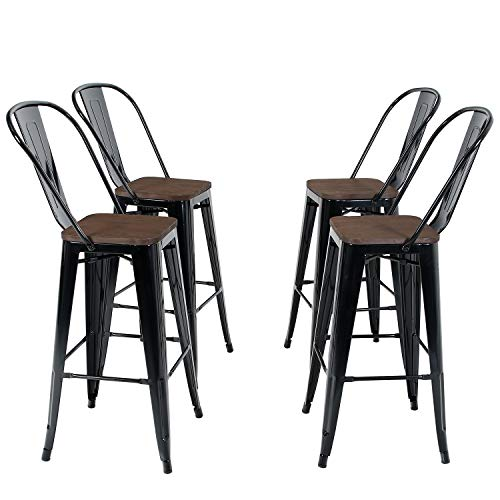 PHI VILLA Metal Patio Bar Stools Set Of 4 30 Inches Counter Height Stools With Wooden Seat And High Back Industrial Style Bar Chairs For Indoor Outdoor Pub Kitchen Island Glossy Black 0