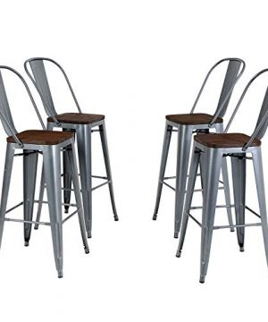 PHI VILLA Metal Patio Bar Stools Set Of 4 30 Inches Counter Height Stools With Wooden Seat And High Back Industrial Style Bar Chairs For Indoor Outdoor Pub Kitchen Island Matte Grey 0 300x360
