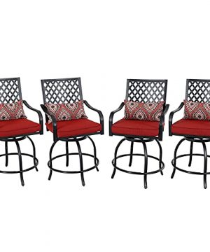 PHI VILLA Outdoor Swivel Bar Stools With Seat Cushion Patio Bar Height Stools With Arm And Back Counter Height Tall Bar Chairs For All Weather Set Of 4Lumbar Pillow Included 0 300x360