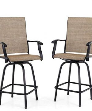 PHI VILLA Patio Swivel Bar Stools Set Of 2 Outdoor Bar Height Patio Stools Bar Chairs With High Back And Armrest All Weather Textilene Patio Furniture For Deck Lawn Garden 0 300x360