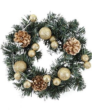 Peyan Christmas Wreath For Front Door Farmhouse With Battery Operated LED Lights Christmas Door Wreath Decoration With Gold Cones Gold Berry Gold 10 Inch 0 300x360
