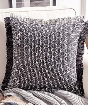 Phantoscope Decorative Boho Throw Pillow With Pillow Insert Included Hand Woven Textured Pillow Cover With Fringe Trim Modern Farmhouse Square Cushion Pillow Black 18 X 18 Inches 0 300x360
