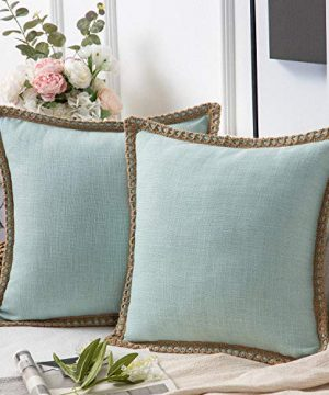 Phantoscope Pack Of 2 Farmhouse Decorative Throw Pillow Covers Burlap Linen Trimmed Tailored Edges Light Turquoise 18 X 18 Inches 45 X 45 Cm 0 300x360