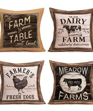Pillow Covers Rustic Wood Grain With Animal Farm Rooster Bull Cow Cotton Linen Vintage Farmhouse Animal And Words Throw Pillow Case Cushion Cover 18 X 18 Set Of 4 Pillowslip Farm Animal Quote 0 300x360