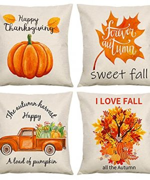 Pillow Covers For Fall Decor 18x18 Inch Set Of 4 Autumn Decorations For Home Farmhouse Thanksgiving Throw Pillowcase With Maple Leaves Orange Pumpkins Design 0 300x360