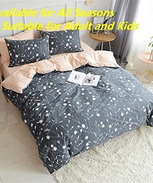 PinkMemory Queen Duvet Cover Floral Cotton Bedding Set Gray Flowers Branches PrintingReversible Peach And Gray Duvet Cover Set Ultra Comfy Breathable Zipper 0 0 300x360