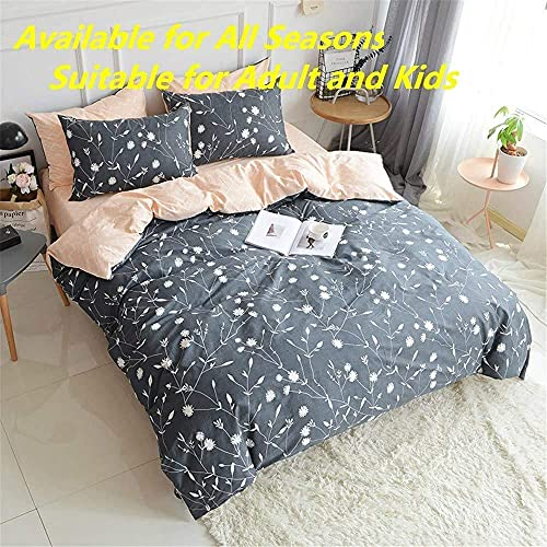 PinkMemory Queen Duvet Cover Floral Cotton Bedding Set Gray Flowers Branches PrintingReversible Peach And Gray Duvet Cover Set Ultra Comfy Breathable Zipper 0 0