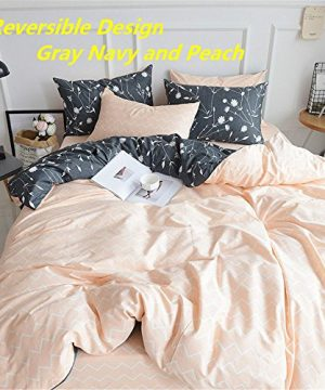 PinkMemory Queen Duvet Cover Floral Cotton Bedding Set Gray Flowers Branches PrintingReversible Peach And Gray Duvet Cover Set Ultra Comfy Breathable Zipper 0 1 300x360