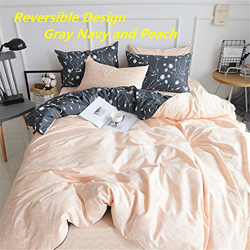 PinkMemory Queen Duvet Cover Floral Cotton Bedding Set Gray Flowers Branches PrintingReversible Peach And Gray Duvet Cover Set Ultra Comfy Breathable Zipper 0 1