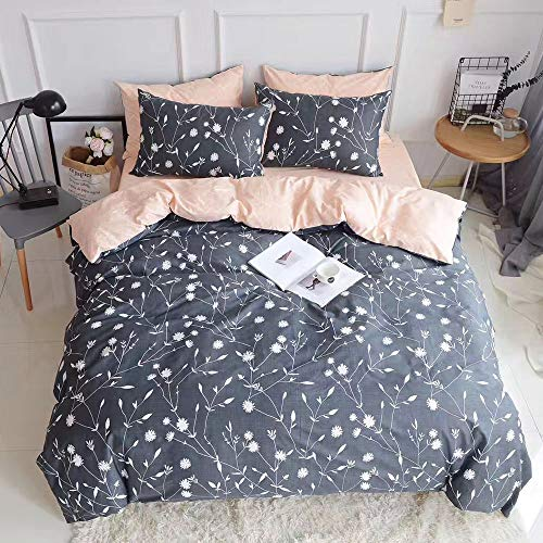 PinkMemory Queen Duvet Cover Floral Cotton Bedding Set Gray Flowers Branches PrintingReversible Peach And Gray Duvet Cover Set Ultra Comfy Breathable Zipper 0