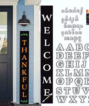 Plata Porch Chalkboard Welcome Sign For Front Porch Standing 5 Ft Tall Large Sign Letter Stencils Paint Pens Crafts For Adults Interchangeable Signs Outdoor Holiday Decorations For Fall Christmas 0 300x360