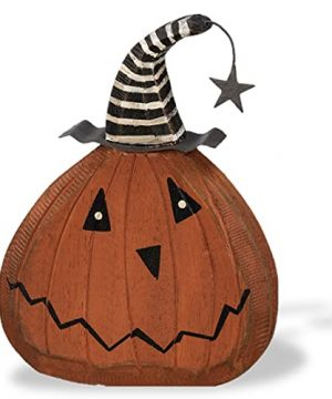 Primitive Halloween Decorations Figurine Pumpkin Head With Metal Hat Chunky Shelf Sitter Ghost Face For Rustic Halloween Home Indoor Decor 0 300x360