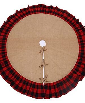 Primitive Home Decors 52 Rustic Christmas Tree Skirt With Red And Black Check Ruffled Edge 0 300x360
