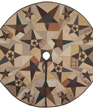 Primitive Star Quilted Christmas Tree Skirt 60 Inches Round 100 Cotton Handmade Hand Quilted Heirloom Quality 0 300x360