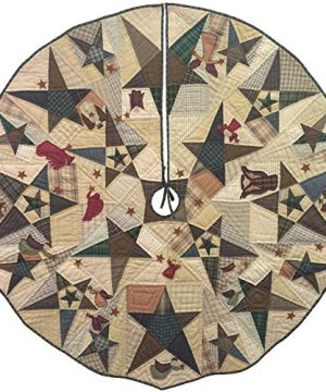 Primitive Star With Angels Quilted Christmas Tree Skirt 60 Inches Round 100 Cotton Handmade Hand Quilted Appliqued Embroidered Heirloom Quality 0 300x360