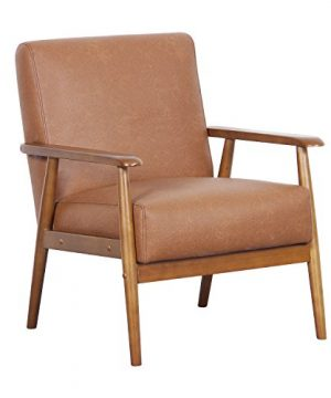 Pulaski DS D030003 329 Wood Frame Faux Leather Accent Chair 2538 X 280 X 305 Cognac Brown 0 300x360