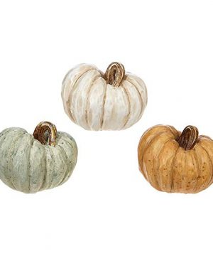 RAZ Imports Rustic Wood Carved Look 45 X 35 Inch Resin Pumpkin Figurines Assorted Set Of 3 0 300x360