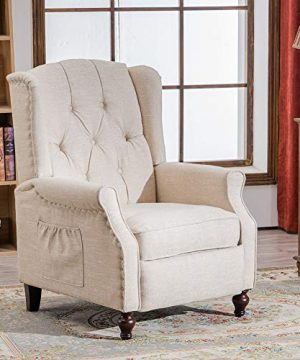 RELAXIXI Wingback Recliner Armchair Massage Heated Recliner Chair With Remote Control Accent Tufted Push Back Recliner Beige 0 300x360