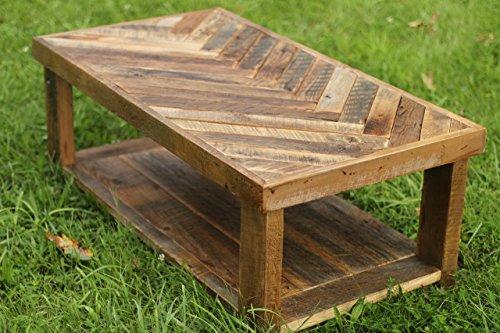 Reclaimed Wood Herringbone Coffee Table With Bottom Shelf 0 2
