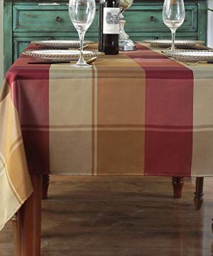 Rectangle Tablecloth Checkered Style Polyester Table Cloth Spillproof Dust Proof Wrinkle Resistant Heavy Weight Table Cover For Kitchen Dinning Tabletop RectangleOblong60 X 1028 10 SeatsRed 0 300x360