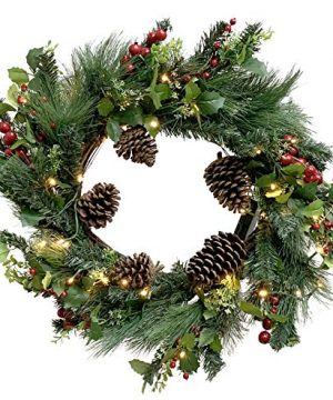 Red Co 22 Christmas Wreath With Pinecones Red Holly Berries Battery Operated LED Lights With Timer 0 300x360