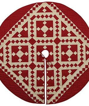 Red Diamond Square Quilted Christmas Tree Skirt 48 Inches Round 100 Cotton Handmade Hand Quilted Heirloom Quality 0 300x360