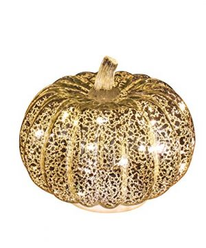 Romingo Mercury Glass Pumpkin Light With Timer For Halloween Pumpkin Decorations Fall And Thanksgiving DecorSilver 55 Inches 0 300x360