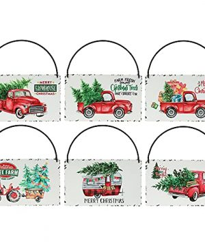 Rustic Red Truck Christmas Ornaments Set Of 6Farmhouse Enamel Hanging Signs For Christmas Tree Decorations Home Holiday Decor 0 300x360