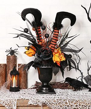 S DEAL Halloween Decorations Table Artificial Flowers Halloween Witch Boot And Fake Rose Tabletop Centerpieces Halloween House Haunted Decor 0 300x360