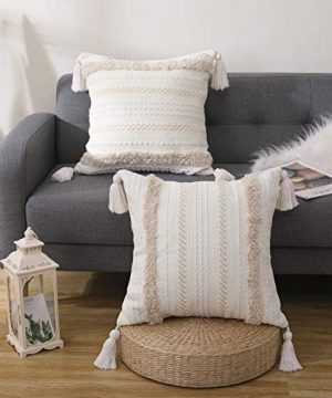 SEEKSEE Boho Cotton Hand Woven Throw Pillow Covers Tufted DecorativeThrow Pillow Covers For Bedroom Living Room Sofa Farmhouse Square Fringed Throw Pillow Cream 2pc 20x20 Inch 0 300x360