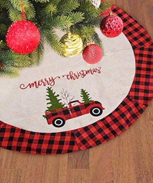 SHANGXING 47 Inch Burlap Christmas Tree Skirt Red And Black Plaid Buffalo Trim Rustic Truck Xmas Tree Skirt For Christmas Holiday Decorations 0 300x360