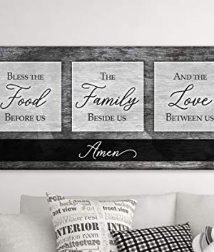 Sense Of Art Bless The Food Before Us The Family Beside Us And The Love Between Us Quote V2 Wood Framed Canvas Horizontal Ready To Hang Dining Room Wall Decor Grey 42x19 0 300x354