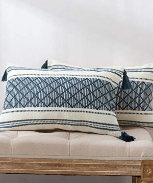 Set Of 2 Cute Lumbar Boho Decorative Throw Pillow Covers 12x20 Inch Cotton Woven Jacquard Pattern Cushion Covers For Couch Living Room Bedroom Farmhouse Pillowcase With Tassels Blue 0 300x360