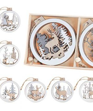 Set Of 6 Christmas Hanging Wooden Ornaments Binswloo Hollow Laser Cutting Wood Cutouts Gift Tags Pendants Wood Baubles Rustic Reindeer Xmas Tree Ornaments For Holiday Season Decor 0 300x360