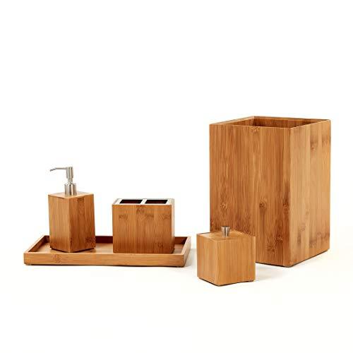 Seville Classics Box Utensil Kitchen Tool Holder Storage Organizer Bathroom Set Bamboo 0