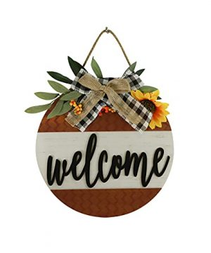 Sfozstra Fall Decor Welcome Sign Wreath For Front Door DecorationOutdoor Decorations For Home Fall Farmhouse Decor For Thanksgiving Autumn Front Door 0 300x360