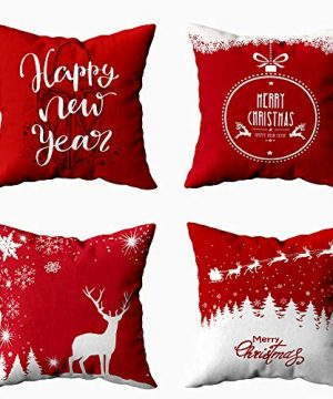 Shorping 18X18 Pillow Cover Set Of 4 Xmas Decorations Pillowcases Throw Pillow Covers Deer Card With Snowflakes For Xmas Gifts Sofa Bedroom Car Home Pillow Cover 0 300x360