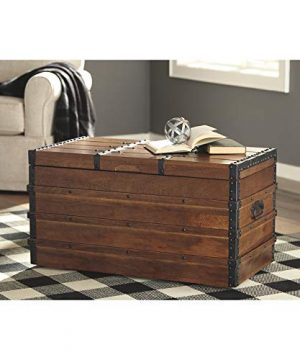 Signature Design By Ashley Kettleby Vintage Wood Storage Trunk Or Coffee Table With Lift Top 19 Brown 0 0 300x360