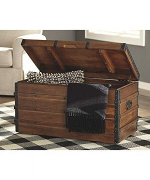 Signature Design By Ashley Kettleby Vintage Wood Storage Trunk Or Coffee Table With Lift Top 19 Brown 0 1 300x360