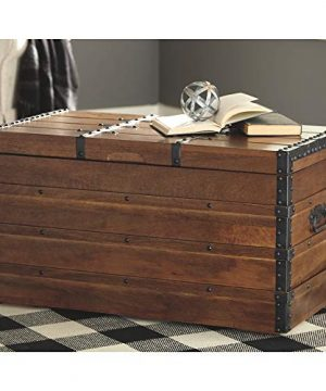 Signature Design By Ashley Kettleby Vintage Wood Storage Trunk Or Coffee Table With Lift Top 19 Brown 0 2 300x360