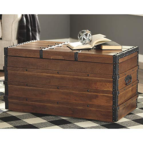 Signature Design By Ashley Kettleby Vintage Wood Storage Trunk Or Coffee Table With Lift Top 19 Brown 0 2