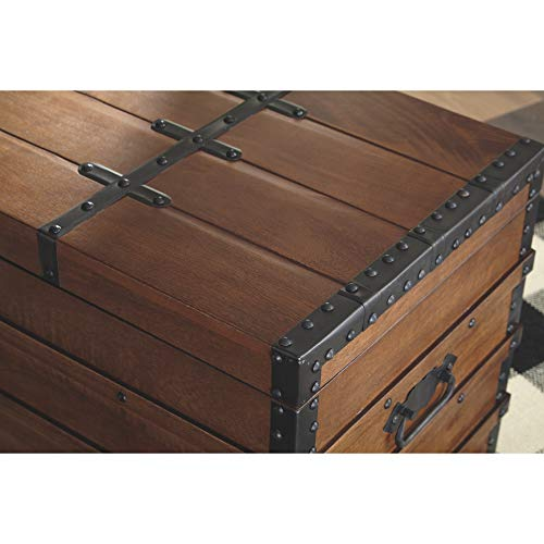 Signature Design By Ashley Kettleby Vintage Wood Storage Trunk Or Coffee Table With Lift Top 19 Brown 0 3
