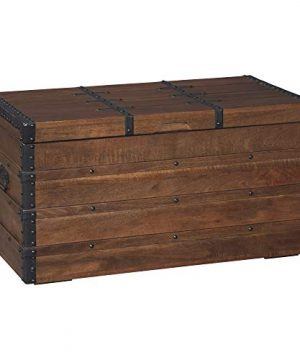 Signature Design By Ashley Kettleby Vintage Wood Storage Trunk Or Coffee Table With Lift Top 19 Brown 0 4 300x360