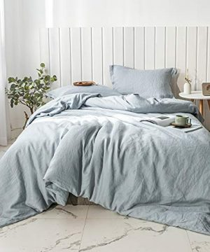 SimpleOpulence 100 Linen Duvet Cover Set 2pcs Basic Style Natural French Washed Flax Solid Color Soft Breathable Farmhouse Bedding With Button Closure Twin Dusty Blue 0 300x360
