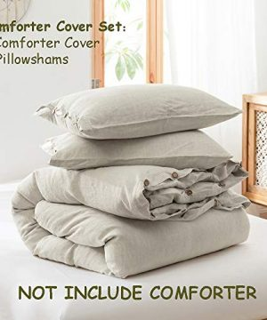 SimpleOpulence 100 Linen Duvet Cover Set 3 Piece Belgian Flax Breathable Bedding King Size 104x 92 1 Comforter Cover2 Pillowshams With Coconut Button Closure Natural Linen 0 0 300x360