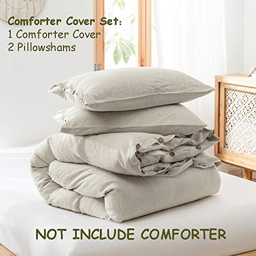 SimpleOpulence 100 Linen Duvet Cover Set 3 Piece Belgian Flax Breathable Bedding King Size 104x 92 1 Comforter Cover2 Pillowshams With Coconut Button Closure Natural Linen 0 0